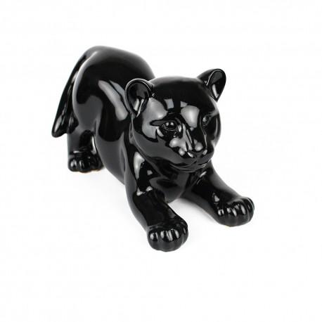 Statue Bébé Tigre noir laquée (RES003NO)