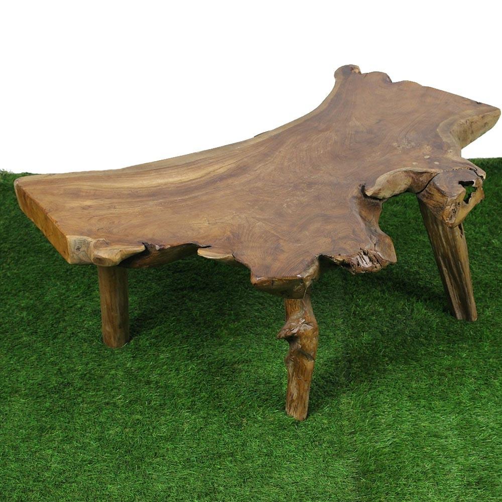 Table Basse Avec Souche D Arbre table basse souche de teck (tec2282)