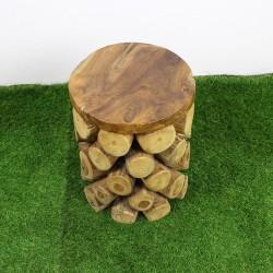 Tabouret bas en rondin de bois (TEC-R01)