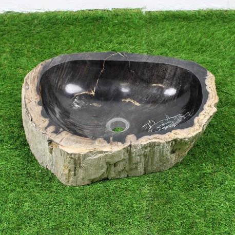 Vasque à poser 52-40 cm en bois pétrifié fossilisé intérieur noir (FOSS45-022BK)