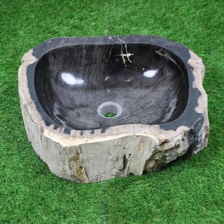 Vasque à poser 48-40 cm en bois pétrifié fossilisé intérieur noir (FOSS45-023BK)