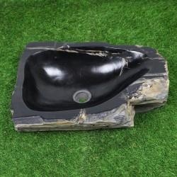 Vasque à poser 50-35 cm en bois pétrifié fossilisé intérieur noir (FOSS45-024BK)