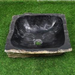 Vasque à poser 41-41 cm en bois pétrifié fossilisé intérieur noir (FOSS45-025BK)