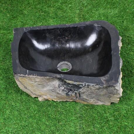 Vasque à poser 47-33 cm en bois pétrifié fossilisé intérieur noir (FOSS45-026BK)