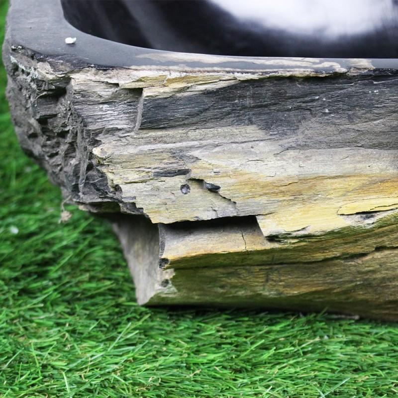 vasque poser 47 32 cm en bois p trifi fossilis int rieur noir foss45 027bk. Black Bedroom Furniture Sets. Home Design Ideas