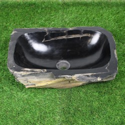 Vasque à poser 47-32 cm en bois pétrifié fossilisé intérieur noir (FOSS45-027BK)
