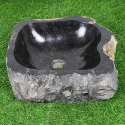 Vasque à poser 44-40 cm en bois pétrifié fossilisé intérieur noir (FOSS45-028BK)