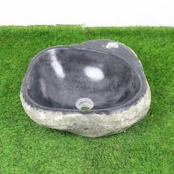 Vasque à poser en galet de rivière 41-38 cm et perçage robinet (GAL45-012R)