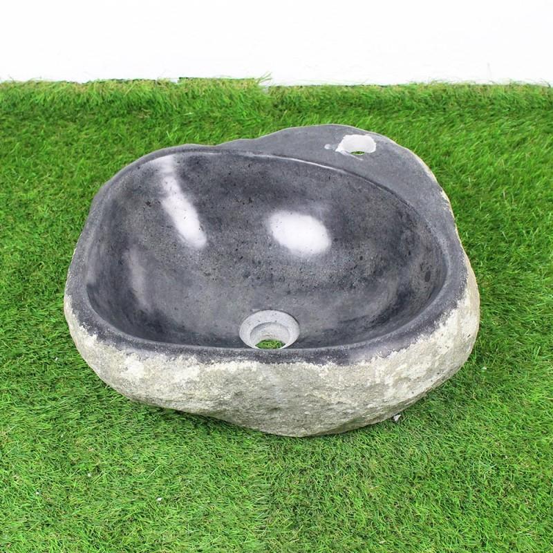 vasque poser en galet de rivi re 41 38 cm et per age robinet gal45 012r. Black Bedroom Furniture Sets. Home Design Ideas