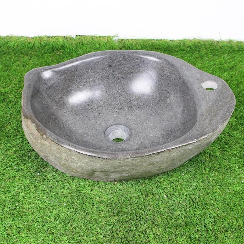 vasque poser en galet de rivi re 50 37 cm et per age robinet gal45 013r. Black Bedroom Furniture Sets. Home Design Ideas