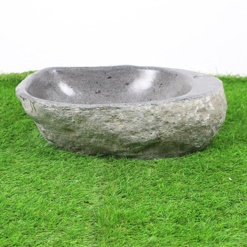 Vasque poser en galet de rivi re 48 32 cm et per age robinet gal45 014r - Galet de riviere ...