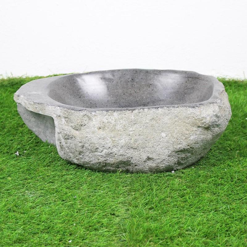 vasque poser en galet de rivi re 48 32 cm et per age robinet gal45 014r. Black Bedroom Furniture Sets. Home Design Ideas