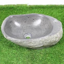 Vasque à poser en galet de rivière 48-32 cm et perçage robinet (GAL45-014R)