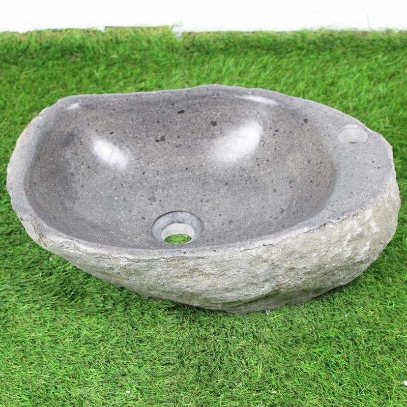 vasque galet Vasque à poser en galet de rivière 48-32 cm et perçage robinet (GAL45-014R)
