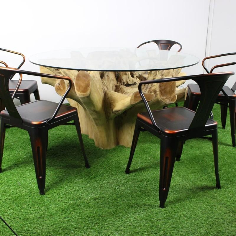 table racine en teck et plateau en verre 140cm tec2026. Black Bedroom Furniture Sets. Home Design Ideas