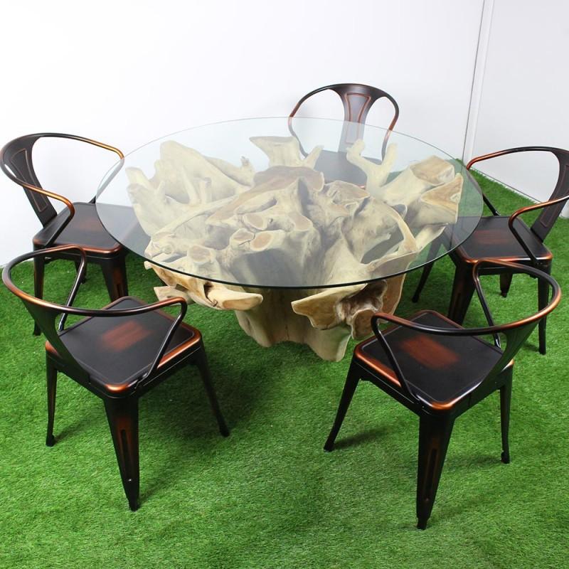 table racine en teck et plateau en verre 140cm tec2027. Black Bedroom Furniture Sets. Home Design Ideas