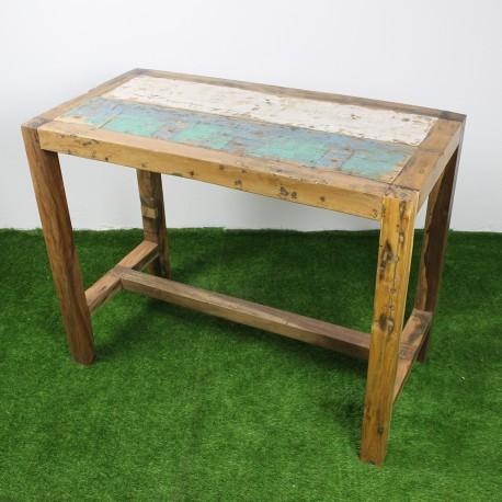 Table haute en teck de bois de bateau 140x70 cm tec3013 010 for Table haute bois