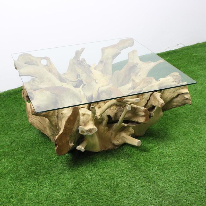 Table Basse Carre Racine De Teck 100x100 Tec2083
