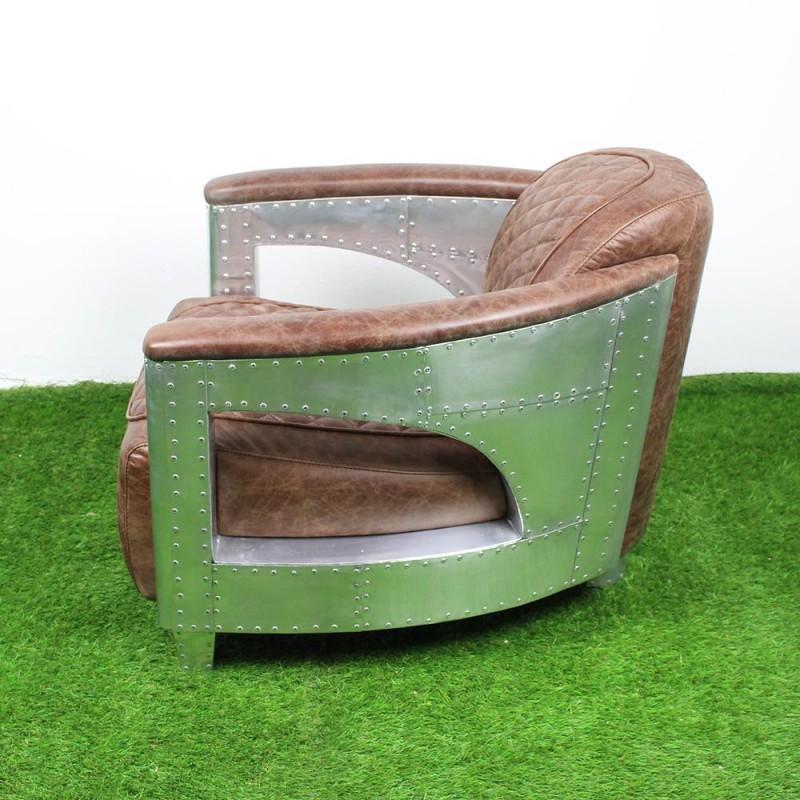 fauteuil club aviateur en cuir henna et alu l 7359 he. Black Bedroom Furniture Sets. Home Design Ideas