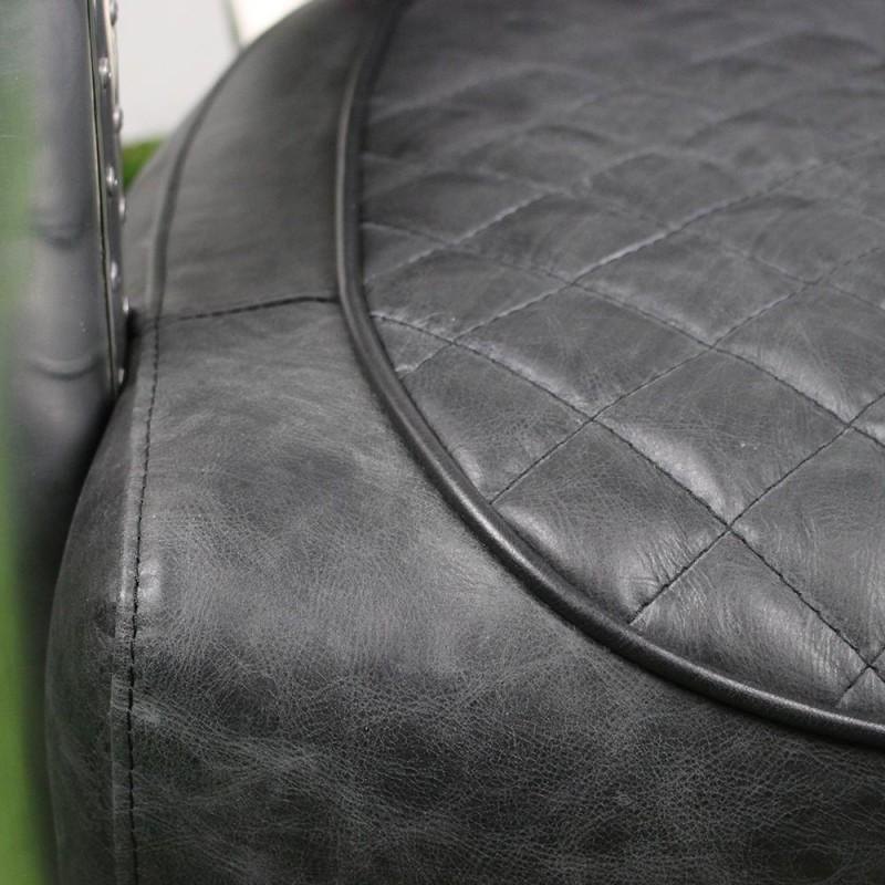 fauteuil club aviateur en cuir new black et alu l 7359 nb. Black Bedroom Furniture Sets. Home Design Ideas