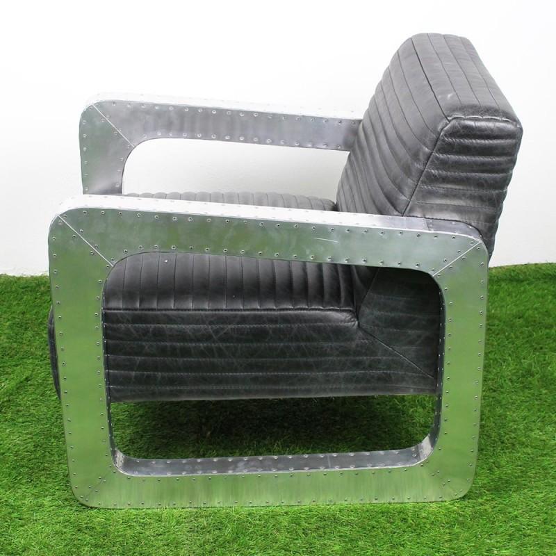 fauteuil premium en cuir new black et alu l 7382 nb. Black Bedroom Furniture Sets. Home Design Ideas