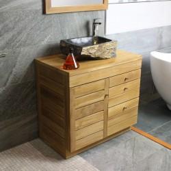 Meuble sous vasque de salle de bain en Teck de 80 cm simple vasque