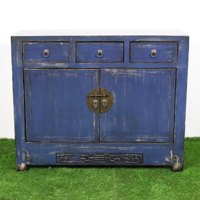 buffet chinois patin bleu et beige l104. Black Bedroom Furniture Sets. Home Design Ideas