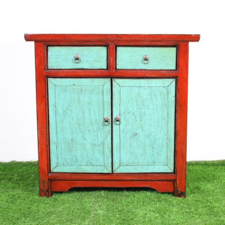 Buffet chinois patiné rouge et cyan L88 (BF-60563)