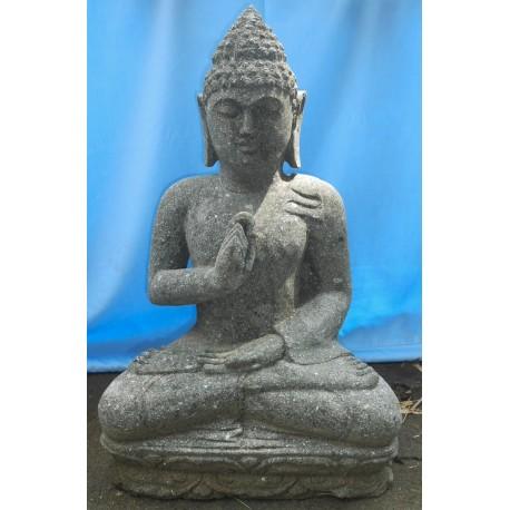 Statue bouddha assis en pierre naturelle verte (SB60-06)