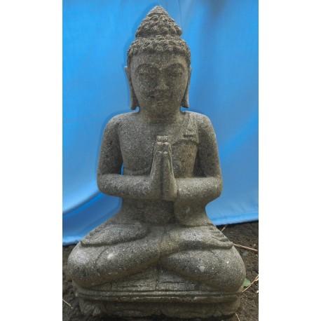 Statue bouddha assis en pierre naturelle verte (SB60-07)