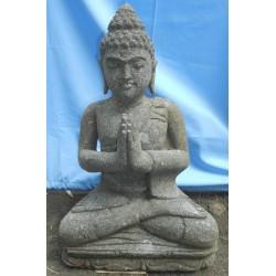 Statue bouddha assis en pierre naturelle verte (SB60-08)