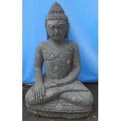 Statue bouddha assis en pierre naturelle verte (SB60-09)