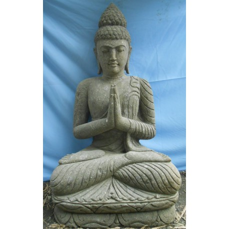 Bouddha assis 120 cm en pierre naturelle verte (SB120-03)