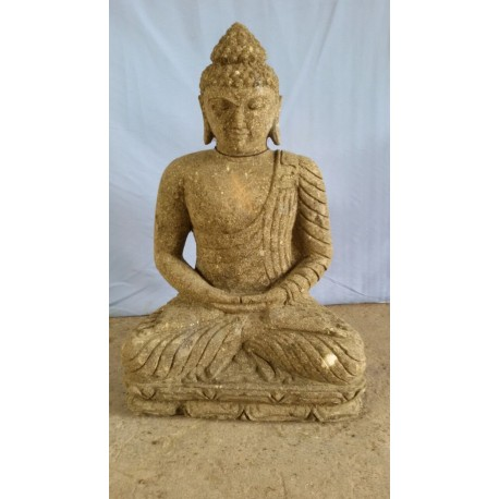 Bouddha assis 60 cm en pierre naturelle verte (SB60-20)