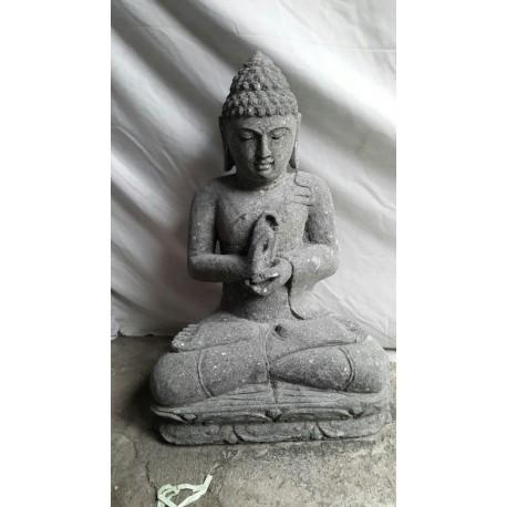 Bouddha assis 60 cm en pierre naturelle verte (SB60-23)