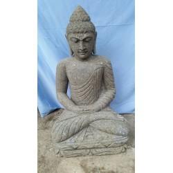 Bouddha assis 80 cm en pierre naturelle verte (SB80-19)