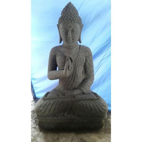 Bouddha assis 100 cm en pierre naturelle verte (SB100-02)
