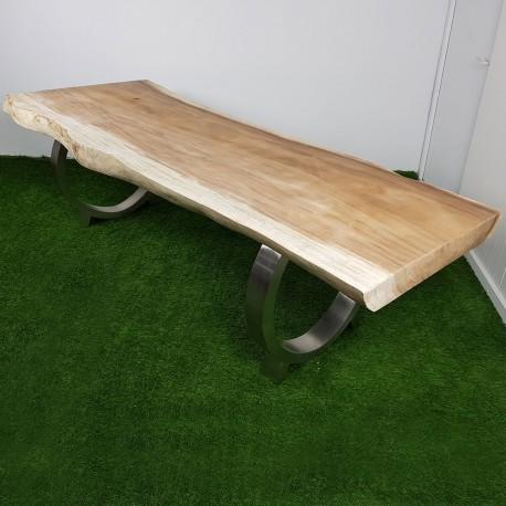 Table en bois de Suar 260cm pieds inox (SUAR52-250)
