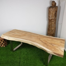 Table en bois de Suar 247cm pieds inox (SUAR53-250)