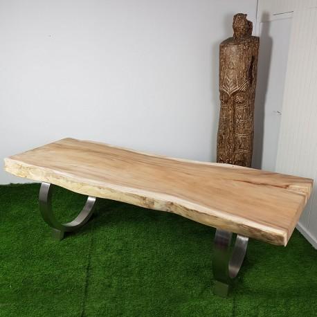 Table en bois de Suar 247cm pieds inox (SUAR54-250)
