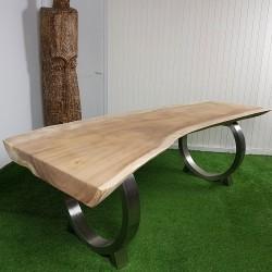 Table en bois de Suar 249cm pieds inox (SUAR55-250)