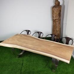 Table en bois de Suar 248cm pieds inox (SUAR56-250)