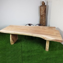 Table en bois de Suar 260cm pieds bois (SUAR59-250)