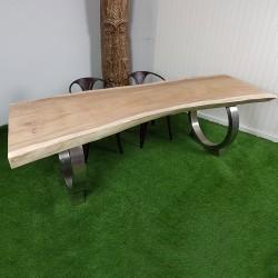 Table en bois de Suar 250cm pieds inox (SUAR60-250)