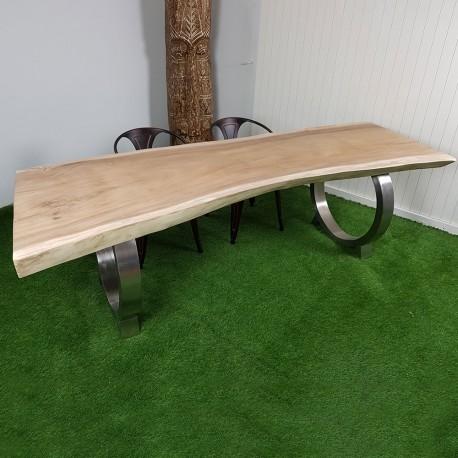 Table En Bois De Suar 250cm Pieds Inox Suar60 250