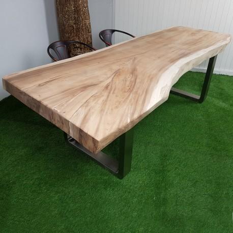 Table en bois de Suar 248cm pieds inox (SUAR62-250)