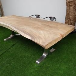 Table en bois de Suar 257cm pieds inox (SUAR63-250)