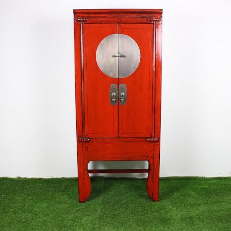 Armoire chinoise patiné rouge et noir L84 (G867)