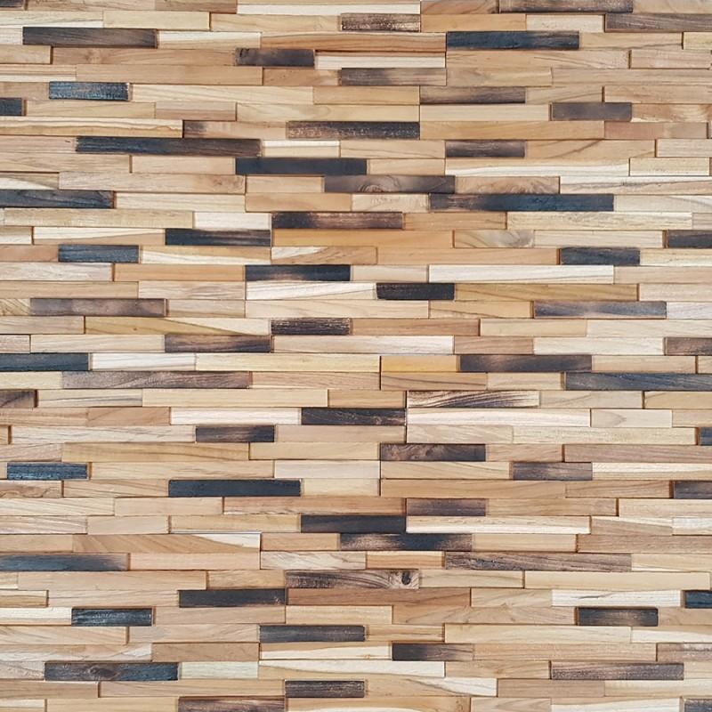 Parement bois de teck natural small 20x60 cm par bois003 - Parement mural bois ...