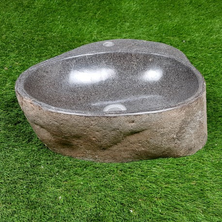 Vasque à poser en galet de rivière 48-42 cm et perçage robinet (GAL45-017R)